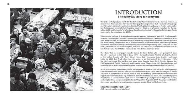 Pages 8 and 9 of 'A Sixpenny Romance, celebrating a century of value at Woolworths' and the Woolworths Museum